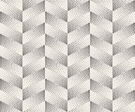 Vector Seamless Black And White Circle Stippling Chevron ZigZag Halftone Gradient Pattern Royalty Free Stock Photo