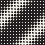 Vector Seamless Black and White Circles Diagonal Gradient Halftone Pattern. Abstract Geometric Background Design Stock Photos