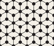 Vector Seamless Black And White Circles Grid Geometric Pattern Stock Photography
