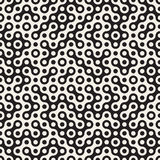 Vector Seamless Black and White Circles Halftone Truchet Pattern Royalty Free Stock Photography
