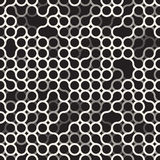 Vector Seamless Black and White Circles Irregular Grid Pattern. Abstract Geometric Background Design Royalty Free Stock Image