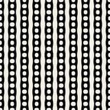 Vector Seamless Black And White Circles Parallel Lines Pattern. Vector Seamless Black And White Circles In Parallel Lines Pattern Background Stock Photo