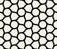 Vector Seamless Black & White Circles And Rounded Lines Tiling Pattern Stock Photography