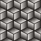 Vector Seamless Black And White Cube Shape Lines Engravement Geometric Pattern Royalty Free Stock Images