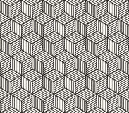 Vector Seamless Black And White Cube Shape Lines Geometric Pattern Stock Photography