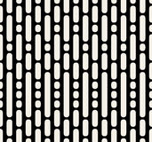 Vector Seamless Black And White Dashed Parallel Vertical Lines and Dots Pattern. Simple Background royalty free illustration