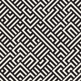 Vector Seamless Black and White Diagonal Maze Lines Geometric Pattern Stock Photography