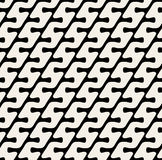 Vector Seamless Black & White Diagonal Rounded Lines Pattern Stock Photos