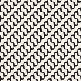 Vector Seamless Black and White Diagonal Rounded Wavy Lines Pattern Stock Photography