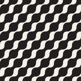 Vector Seamless Black And White Diagonal Wavy Lines Pattern Stock Image