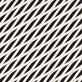 Vector Seamless Black and White Diagonal Wavy Shapes Pattern Royalty Free Stock Images