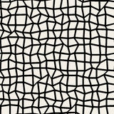 Vector Seamless Black & White Distorted Perpendicular Line Grid Mosaic Pattern Stock Images