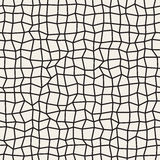 Vector Seamless Black and White Distorted Rectangle Mosaic Grid Pattern Stock Image