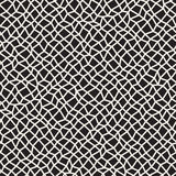 Vector Seamless Black and White Distorted Rectangle Mosaic Grid Pattern Royalty Free Stock Images