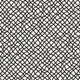 Vector Seamless Black and White Distorted Rectangle Mosaic Grid Pattern Stock Photo