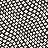 Vector Seamless Black and White Distorted Wavy Lines Pavement Pattern Stock Photos