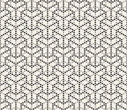 Vector Seamless Black and White Dotted Lines Grid Pattern Stock Photos