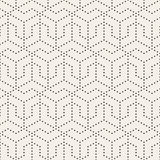 Vector Seamless Black and White Dotted Lines Grid Pattern Stock Photography