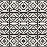 Vector Seamless Black And White Ethnic Geometric Floral Pattern Stock Image