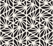 Vector Seamless Black and White Floral Organic Triangle Lines Hexagonal Geometric Pattern