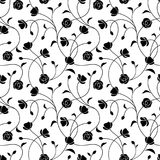 Seamless black and white floral pattern. Vector illustration. Stock Photo