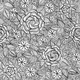 Vector seamless black and white floral pattern Stock Photos