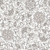 Vector seamless black and white floral pattern Stock Photo