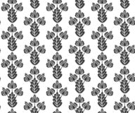 Vector seamless black and white floral pattern in vintage style. Print for fabric, wallpaper, wrapping design royalty free illustration