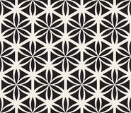 Vector Seamless Black and White Flower of Life Sacred Geometry Circle Pattern Royalty Free Stock Images