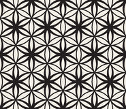 Vector Seamless Black and White Flower of Life Sacred Geometry Circle Pattern Stock Image