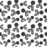 Vector Seamless Black and White flower pattern Background stock photos