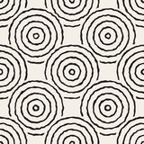 Vector Seamless Black And White Freehand Concentric Circles Pattern. Abstract Freehand Background Design vector illustration