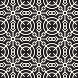 Vector Seamless Black and White Geometric Ethnic Circle Line Ornament Pattern Stock Photo