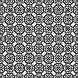 Vector Seamless Black and White Geometric Ethnic Floral Line Ornament Pattern royalty free illustration