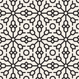 Vector Seamless Black and White Geometric Ethnic  Floral Line Ornament Pattern Royalty Free Stock Image