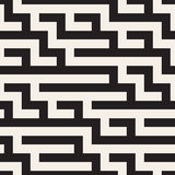Vector Seamless Black and White Geometric Maze Lines Pattern Royalty Free Stock Photography