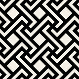 Vector Seamless Black and White Geometric Rhombus Cross Square Tile Pattern Stock Photography
