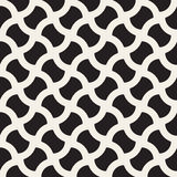 Vector Seamless Black And White Geometric Wavy Lines Grid Rounded Pavement Pattern Royalty Free Stock Photos
