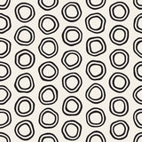 Vector Seamless Black and White Hand Drawn Circles Pattern. Abstract Freehand Background Design Royalty Free Illustration