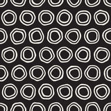 Vector Seamless Black and White Hand Drawn Circles Pattern. Abstract Freehand Background Design Vector Illustration