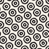 Vector Seamless Black and White Hand Drawn Concentric Circles Pattern. Abstract Freehand Background Design Stock Illustration