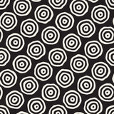Vector Seamless Black and White Hand Drawn Concentric Circles Pattern. Abstract Freehand Background Design Vector Illustration