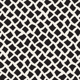 Vector Seamless Black and White Hand Drawn Diagonal Rectangles Lines Pattern Stock Photography