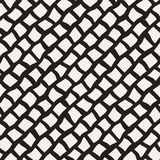 Vector Seamless Black and White Hand Drawn Diagonal Rectangles Lines Pattern Royalty Free Stock Photos
