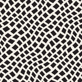 Vector Seamless Black and White Hand Drawn Diagonal Rectangles Lines Pattern Stock Images