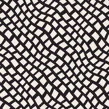 Vector Seamless Black and White Hand Drawn Diagonal Rectangles Lines Pattern Royalty Free Stock Images