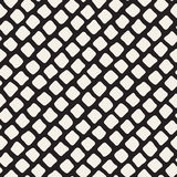 Vector Seamless Black and White Hand Drawn Diagonal Rectangles Pattern Stock Photos