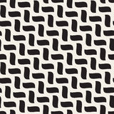 Vector Seamless Black and White Hand Drawn Diagonal Wavy Braid Shapes Pattern Stock Images