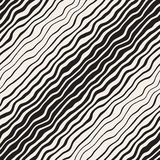 Vector Seamless Black and White Hand Drawn Diagonal Wavy Lines Pattern Royalty Free Stock Image