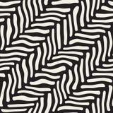 Vector Seamless Black and White Hand Drawn Diagonal Zebra Line Pavement Pattern Stock Photos